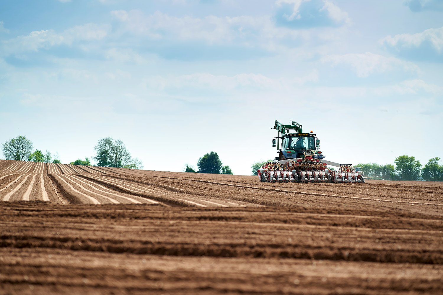 Farmer ploughing field prior to seed planting