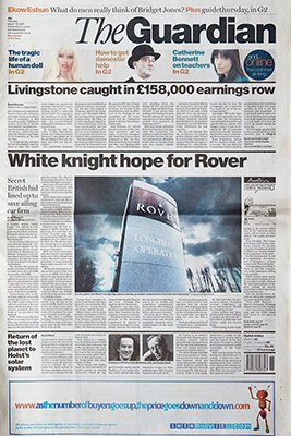 The Guardian MG Rover front page