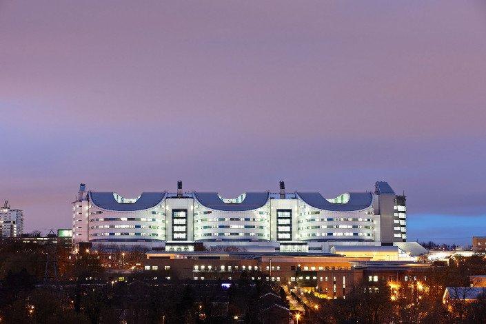 Exterior of the QE Hospital in Birmingham