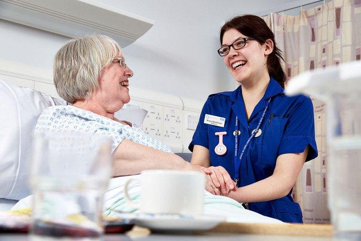 NHS nurse and patient