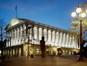 Birmingham town hall at night