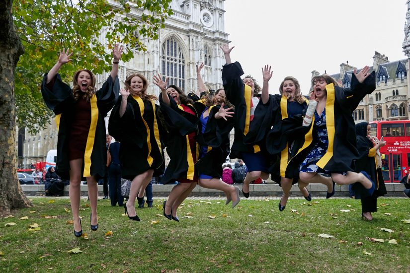 Students celebrate graduating in London