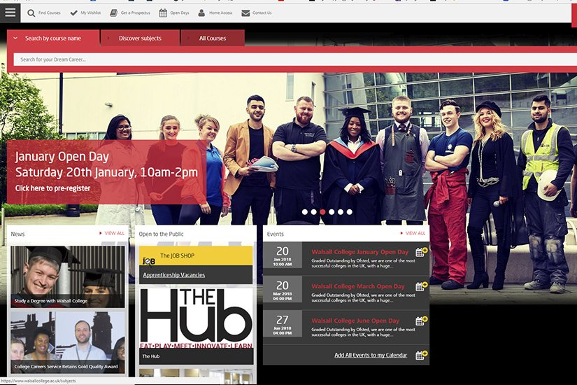 Walsall College website front page
